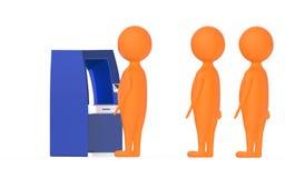 3d pomarańczowy charakter, s kolejka w atm kontuarze ilustracja wektor