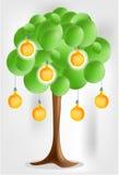 3d ponen verde el árbol con los bulbos amarillos electical de la pera Imagenes de archivo