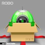 3d ponen verde el eyeborg del robo que sale de una caja marrón Foto de archivo