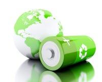 3d ponen verde la batería con el reciclaje de símbolo y del globo de la tierra Fotografía de archivo