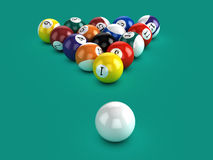 3d Pool balls and the white ball Royalty Free Stock Image
