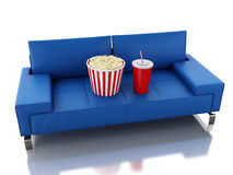 3d Popcorn and drink on sofa. Cinema concept. 3d renderer illustration. Popcorn and drink. Cinematography concept.  white background Stock Photos