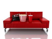 3d Popcorn and drink on sofa. Cinema concept. 3d renderer illustration. Popcorn and drink. Cinematography concept.  white background Stock Images