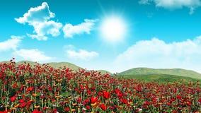 3D poppy field landscape Royalty Free Stock Photos
