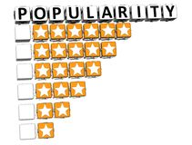 3D Popularity Button Click Here Block Text. Over white background Stock Photography