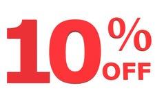 3D 10 por cento fora no fundo branco Fotos de Stock
