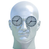 3d Portrait of Worried Stressed Overwhelmed Man. Time Concept 3D Illustration: Human Head  and Time, Business Punctuality, Appointment Stress, Deadline Pressure Stock Images