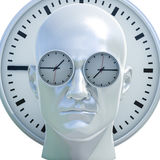 3d Portrait of Worried Stressed Overwhelmed Man. Time Concept 3D Illustration: Human Head  and Time, Business Punctuality, Appointment Stress, Deadline Pressure Stock Photos