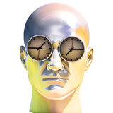 3d Portrait of Worried Stressed Overwhelmed Man. Time Concept 3D Illustration: Human Head  and Time, Business Punctuality, Appointment Stress, Deadline Pressure Stock Photo