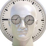 3d Portrait of Worried Stressed Overwhelmed Man. Time Concept 3D Illustration: Human Head  and Time, Business Punctuality, Appointment Stress, Deadline Pressure Royalty Free Stock Images