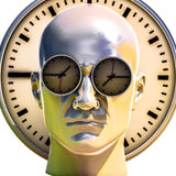 3d Portrait of Worried Stressed Overwhelmed Man. Time Concept 3D Illustration: Human Head  and Time, Business Punctuality, Appointment Stress, Deadline Pressure Stock Image