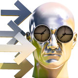 3d Portrait of Worried Stressed Overwhelmed Man. Time Concept 3D Illustration: Human Head  and Time, Business Punctuality, Appointment Stress, Deadline Pressure Royalty Free Stock Photo