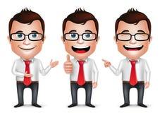 3D poserar den realistiska affärsmannen Cartoon Character med olikt vektor illustrationer