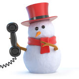 3d Posh snowman answers the phone. 3d render of a snowman in a top hat holding a telephone receiver Royalty Free Stock Image