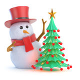 3d Posh snowman Christmas tree. 3d render of a snowman in a top hat and his Xmas tree Royalty Free Stock Image