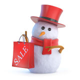 3d Posh snowman sale bag. 3d render of a snowman in a top hat holding a sale bag Royalty Free Stock Image