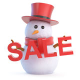 3d Posh snowman sale. 3d render of a snowman in a top hat holding the word SALE Stock Photography