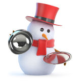 3d Posh snowman silver service. 3d render of a snowman in a top hat holds a silver tray and lid Royalty Free Stock Photo