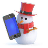 3d Posh snowman smartphone. 3d render of a snowman in a tophat holding a smartphone Stock Photography