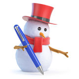3d Posh snowman writing. 3d render of a snowman in a tophat writing with a blue pen Stock Images