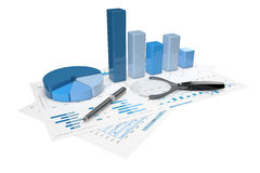 3d positive bar Graphs. Of financial analysis Royalty Free Stock Images