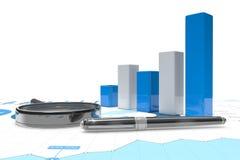 3d positive bar Graphs. Of financial analysis Stock Photos