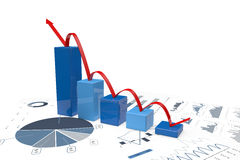 3d positive bar Graphs. Of financial analysis - Isolated Royalty Free Stock Image