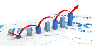 3d positive bar Graphs Royalty Free Stock Photo
