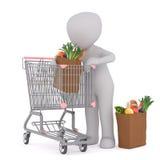 3d postać Umieszcza sklep spożywczy torby w wózek na zakupy Zdjęcia Stock