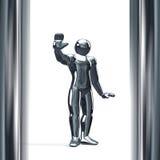 3D postać z nim jest ręką up odizolowywającym na bielu Zdjęcia Royalty Free