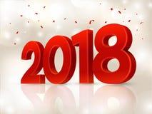 2018 3D postaci w isometric 2018 geometrii liczby Nowego roku znak dla kartka z pozdrowieniami lub plakata również zwrócić corel  Obraz Royalty Free