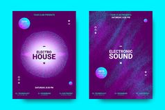 3d Poster for Electronic Music Festival. Wave Music Poster with Amplitude of Sound. Futuristic Flyer Concept for Electronic Event Promotion. Vector Equalizer stock illustration