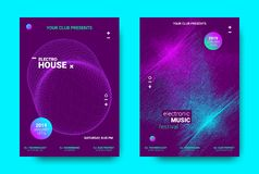 3d Poster for Electronic Music Festival. Wave Music Poster with Amplitude of Sound. Futuristic Flyer Concept for Electronic Event Promotion. Vector Equalizer vector illustration