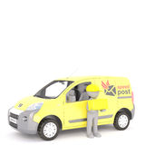 3d postman or courier doing Express deliveries Stock Image