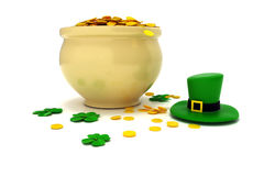 3d pot of gold with four leaf clover. Render Stock Image
