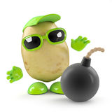 3d Potato character finds a bomb Royalty Free Stock Images