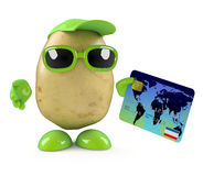 3d Potato character pays by debit card Stock Photography