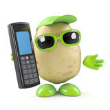 3d Potato chats on his cellphone Royalty Free Stock Photos
