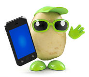 3d Potato chats on his smartphone Stock Photos