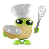 3d Potato chef with whisk Stock Images