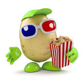 3d Potato eays popcorn at the movies Stock Photos