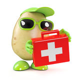 3d Potato with first aid kit Royalty Free Stock Photo