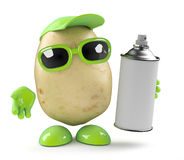 3d Potato has a can of spraypaint Stock Image