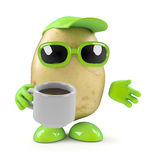 3d Potato has a coffee break. 3d render of a potato character drinking a cup of tea stock illustration