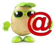 3d Potato holding an email address symbol Stock Image