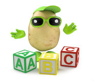 3d Potato learns the alphabet Stock Photography