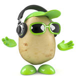 3d Potato listens on headphones Royalty Free Stock Image