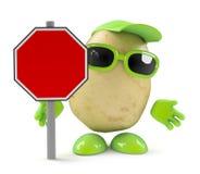 3d Potato man with blank roadsign Stock Photos