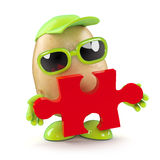 3d Potato man has the answer. 3d render of a potato character holding a piece of a jigsaw puzzle vector illustration