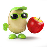 3d Potato man has an apple Stock Photography